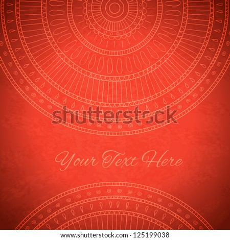 Red background with ornaments and with space for your text. Vector image.