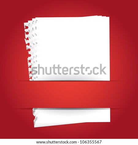 red background with papers and place for your text