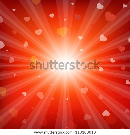 Red Backgrounds With Beams And Hearts, Vector Illustration
