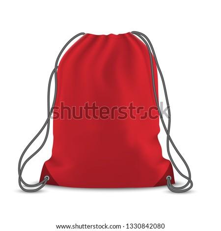Red backpack bag. Sport bag mockup on white background Foto stock ©