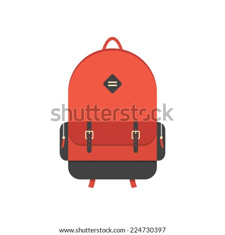 red backpack isolated on white background. flat style trendy modern vector illustration