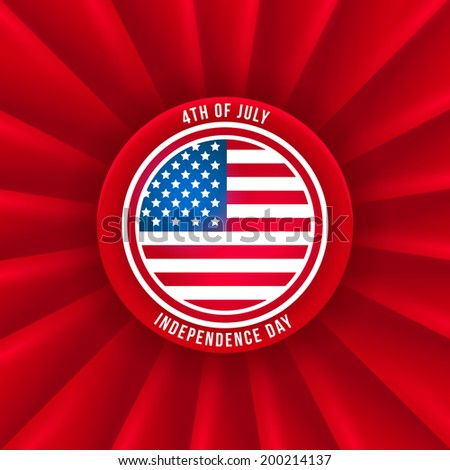Red badge with USA flat for Independence Day. Vector background for 4 of July