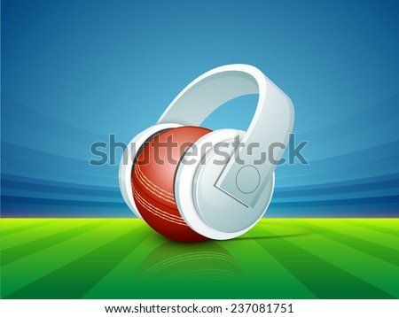 Red ball with headphone for sports of cricket concept on stadium background.
