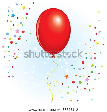 Red balloon with dangling curly ribbon in vector format
