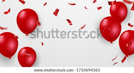 red balloons  confetti concept