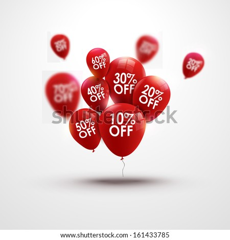 Red Baloons Discounts. Sale concept icons for shop, retail. Fashion birthday vector illustration. Baloon sale poster