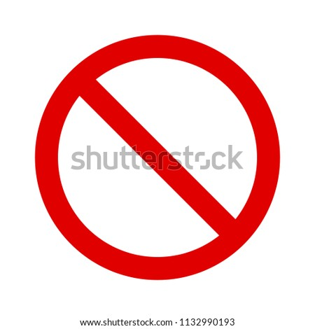 Red ban / banned, stop, no or restriction sign flat vector icon for print and websites #1132990193