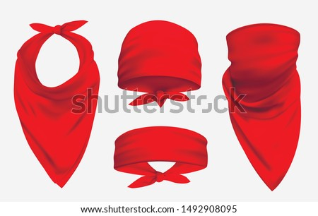 Red bandana realistic 3d accessory illustrations set. Biker and cowboy clothes for protecting face isolated on white background. Fashionable silk headband, neckerchief and forehead. Unisex clothing