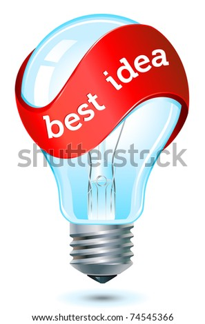 red banner best idea light bulb icon