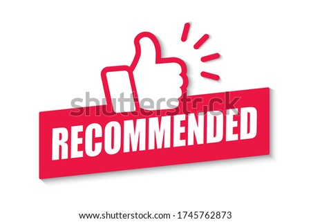 Red banner recommended with thumbs up, label with text what endorsing or praising  Stock photo ©