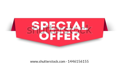 Red banner special offer. Vector web element