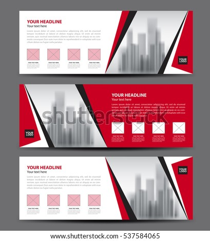 Red Banner template vector, Horizontal header, advertising, business flyer design