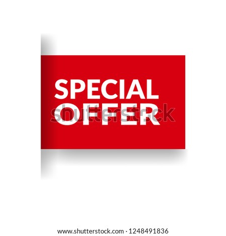 Red banner with text special offer.special offer emblem, label, badge,sticker, logo. Designed for your web site design, logo, app, UI