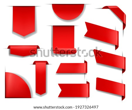 Red banners and labels for web page, sale promotion design element. Blank red bookmarks, paper or fabric badges templates and ribbon flags on page top, side and corner 3d realistic vectors set Foto stock ©