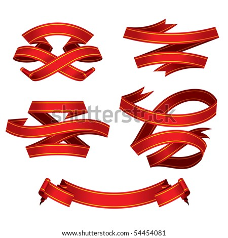 red banners set, vector