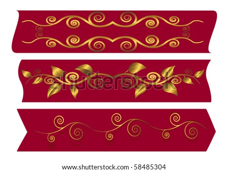 Red banners with golden floral swirls. Vector illustration.