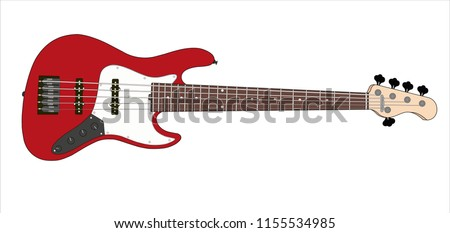 red bass guitar 5 string vector