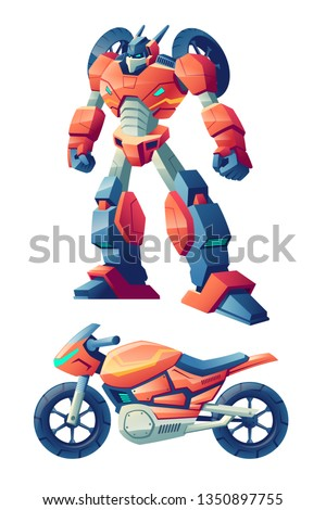 red battle robot capable to