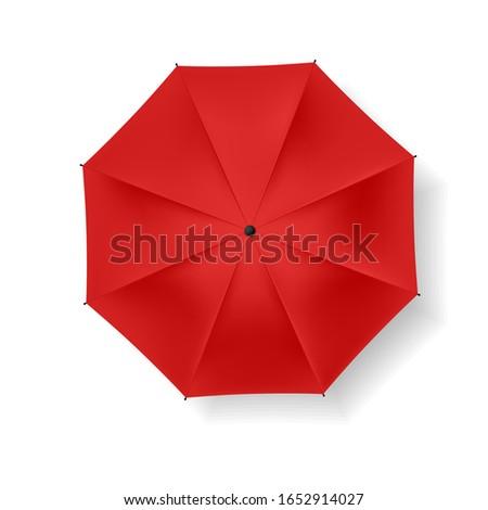 Red beach umbrella on a white background. Vector icon.