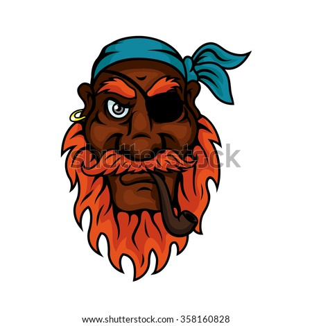 red bearded old pirate with eye
