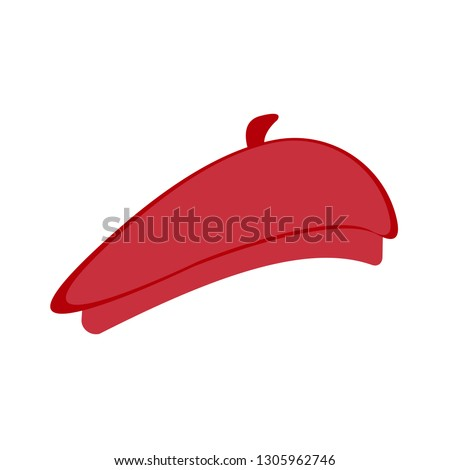 Red beret on white background, vector