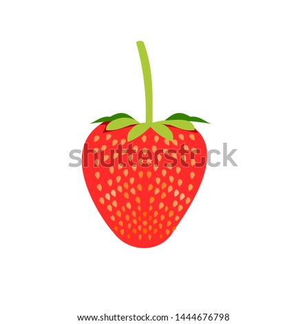 Red berry strawberry vector isolated on white background, Bright colored fruit with a sweet aroma and sour taste