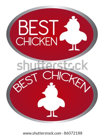 red best chicken tags isolated over white background. vector