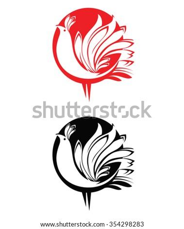 red bird  black bird  circle
