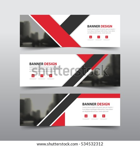 Red black abstract triangle corporate business banner template, horizontal advertising business banner layout flat design set #534532312