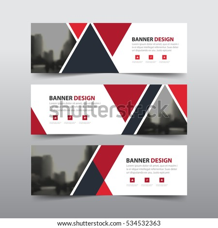 Red black abstract triangle corporate business banner template, horizontal advertising business banner layout flat design set #534532363