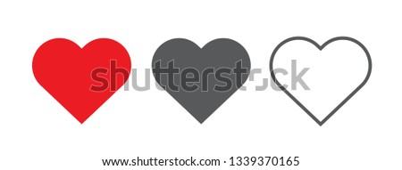 Red, black and outline heart icon, love icon