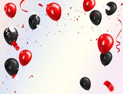 Red black balloons, confetti concept design Happy greeting background. Celebration Vector illustration.