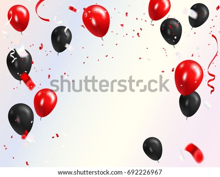 red black balloons  confetti