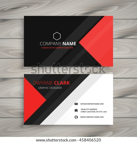 red black corporate business card