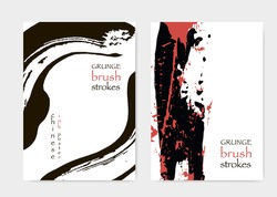 Red Black Cover Template. Grungy Brushstrokes. Asian Brochure Cover. Chinese Cover Template. Grunge Poster Design. Hand Drawn Brushstrokes.