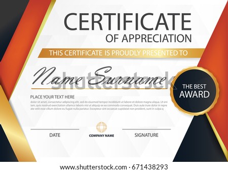 Modern Clean Red And White Certificate Design Download Free Vector