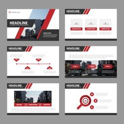 Red Black presentation templates Infographic elements flat design set for brochure flyer leaflet marketing advertising