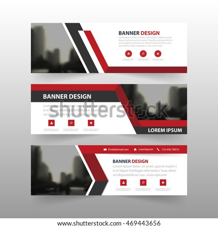 Red black triangle corporate business banner template, horizontal advertising business banner layout template flat design set #469443656
