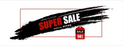Red Black White Discount special offer. Shopping Bag Sale banner. Vector illustration