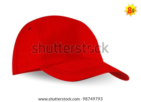Red blank baseball cap template.