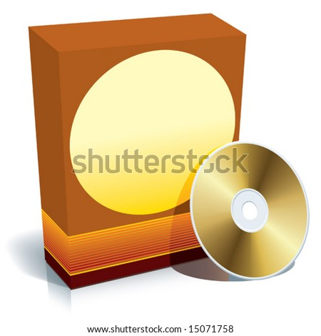 Red blank 3d box with CD, ready to use, vector.