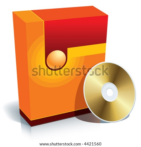 Red blank 3d box with CD, vector