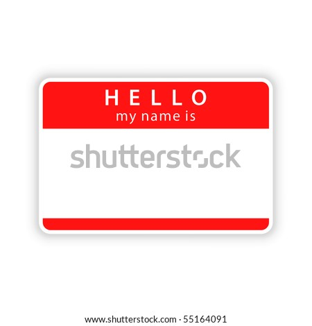 Red blank name tag «HELLO. My name is» sticker with shadow on white background