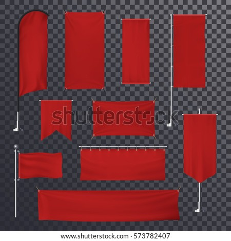 Red blank poster background template. Advertising billboard or empty sign, retail board or roll-up, show up and blank curvy flag, exhibition hanging fabric surface stand. Trading and commercial theme