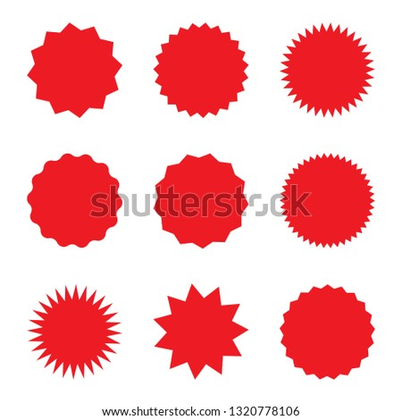 Red blank promo stickers set. Starburst, graphic, sunburst, shine, stamp, decoration, sunshine, glitter symbol. Hipster Style badges. Vector design element great for retro style projects.