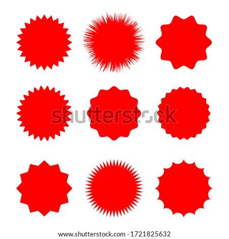 Red blank stickers promo set. Shine, stamp, starburst,sunburst,decoration, sunshine, glitter symbol. Hipster badges. Vector elements eps 10