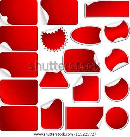 Red Blank Sticky Curled Paper Set Isolated on White. Vector