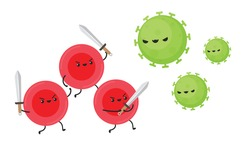 Red blood cell character design. Red blood cell vector. Virus character design.