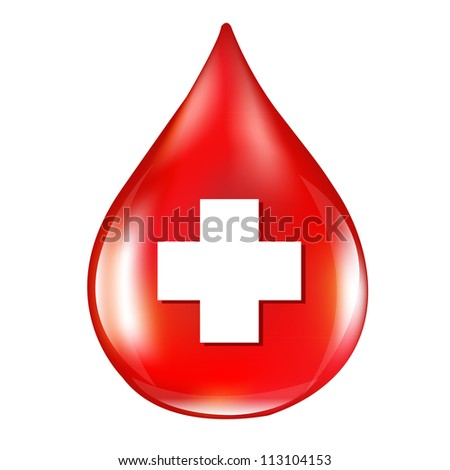 Red Blood Drop, Isolated On White Background, Vector Illustration