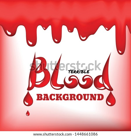 Red blood drops frame or bleeding background with place for text. Realistic 3d vector illustration of scarlet dripping, drips or droplets